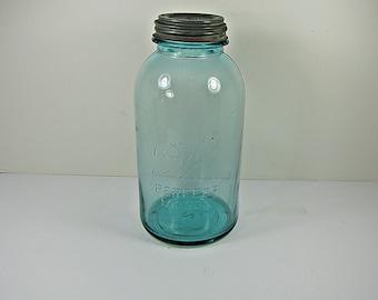 Vintage BLUE BALL CANNiNG JAR 1/2 Gallon Circa 1910s  Milkglass Zinc Lid Perfect Mason Half #2