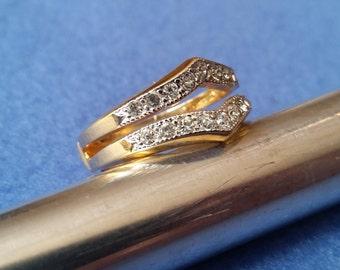 Vintage Esposito Espo Faux Diamond Yellow Gold Ring Enhancer Guard Wrap, size 11, 18KT HGE