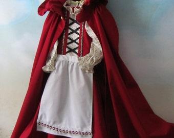 Girl's German, Bavarian Dirndl, Apron & Cloak: Gretel, Heidi, Red Riding Hood - All Cotton Fabric, Size 6 - Ready To Ship Now