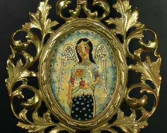 Angel Carrying the Sacred Heart Original Retablo in Antique Rococo Frame
