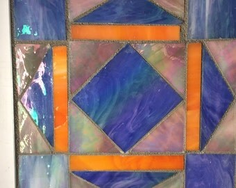 Blue, Pink and Orange Triangular Table Mosaic