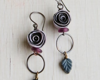 By the roses - handmade artisan bead long faded purple, charcoal and white rose bohemian rustic earrings  - Songbead UK narrative jewellery