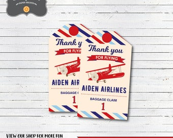 Airplane Party Decorations, Airplane Birthday Favor Tags, Airplane Thank You Tags, DIY Printable PDF file, Personalized