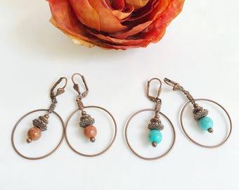 Bead earrings, goldstone gemstone, turquoise earrings, copper jewelry, Boho earrings, simple bohemian earrings, rustic hoop earrings
