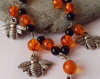 Bee Gemstone Charm Bracelet, Copal, Black Onyx,  Bee Jewelry, Goddess Jewelry, Melissa, Bee Animal Totem, Nature Jewelry