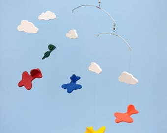 AIRPLANE MOBILE-D46,Multi w Clouds,Airplane Mobile,Baby Mobile,Toy Airplane Mobile,Nursery Mobile,Baby Shower Gift,Rainbow Airplane,Mobile