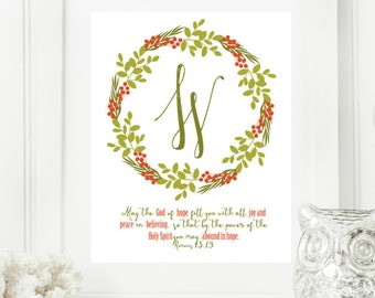 "Christmas ""W"" Monogram Digital Print for Your Home 