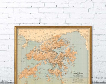 Historical map of Hong Kong - Large wall map print