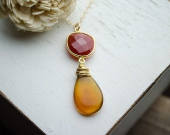 Chalcedony Necklace - Fall Red and Orange