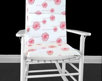 Coral Dandelion White Rocking Chair Cushion