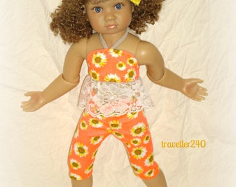 "For 18"" Kidz n Cats ""Summer Floral"" Halter Top and Capri Pants in Coral, Gold, Ivory with Headband, Handmade Doll Clothes by traveller240"