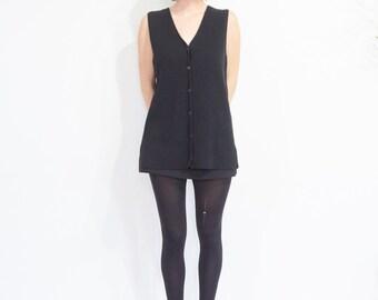 90s Black Rib Knit Tunic Vest