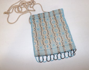 Vintage 1920s flapper heavily beaded purse pouch shoulder bag cream blue excellent condition