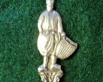 Vintage Sterling Silver Souvenir Spoon Greek Man Grape Picker Farmer