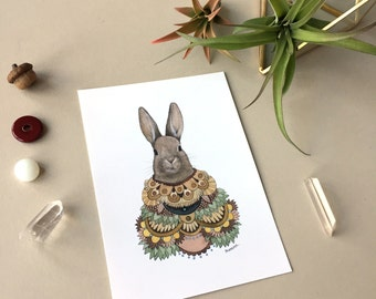 Collector: Rabbit // 5x7 Art Print // Woodland Illustration