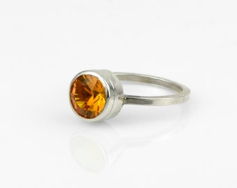 Golden Citrine Ring set in Sterling Silver Faceted Yellow Citrine Solitaire Stacking Ring Fine Handmade Jewelry