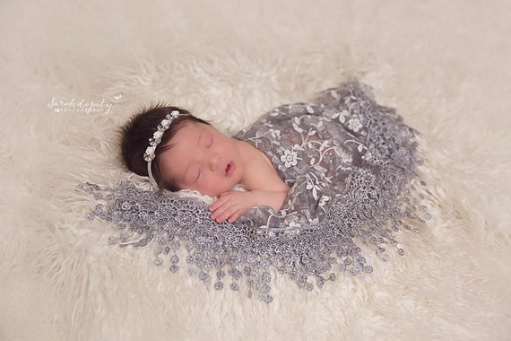 Grey Fringe Edge Lace Swaddle Wrap AND/OR Matching Rhinestone Headband for newborn photos, baby, lace wrap by Lil Miss Sweet Pea