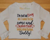 Welcome Home Daddy or Mommy Military Deployment Homecoming shirt onesie choose colors add name initials personalized custom made embroider