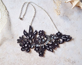 Black Lace Necklace with Pearls and Sequins