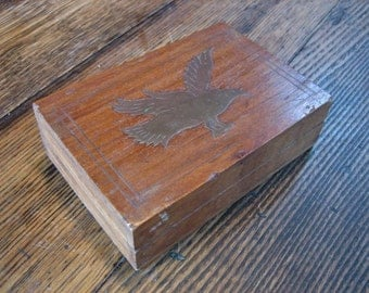 """Vintage Wooden Box With Brass Eagle Inlay Hinged Lid 6X4X1.74"""""""