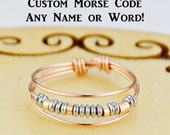 Morse Code Ring- ANY Name or Word - Choice of Color Beads and Silver, Rose, or Yellow Gold Filled Wire- Any Size-4,5,6,7,8,9,10,11,12,13,14