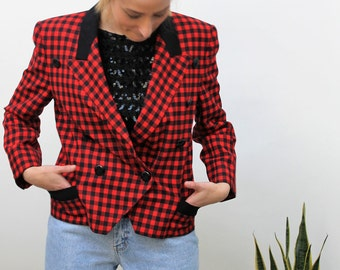 Escada Red and Black Check Double Breasted Jacket Size UK 10, US 6, EU 38