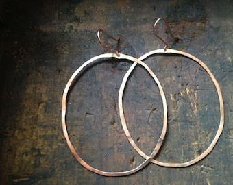 Organic Rose Gold Hoops // Hammered Gold Filled Hoop Earrings