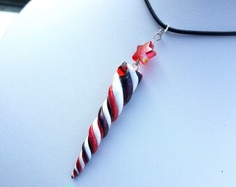 Unicorn Horn Necklace - Red/Black/White