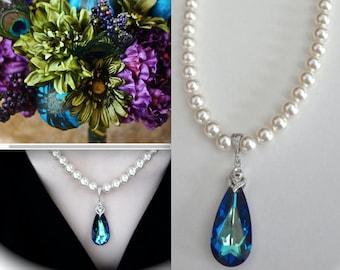 Pearl necklace ~ Brides necklace ~ Something blue ~ Swarovski Crystal pendant ~ Bermuda blue ~ Destination wedding necklace~Peacock necklace