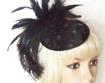 Black Fascinator Hat - Black Mini Hat - Polka Dot Hat