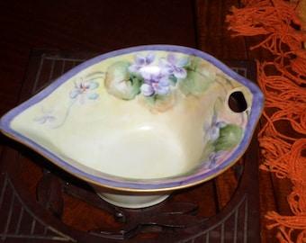Bavarian Porcelain/Viola/HANDPAINTED ANTIQUE BOWL/German/1900's