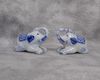 Vintage Little Blue and White Elephant S & P Set  Mint