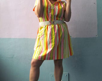 Vtg 60s 70s Cotton Day Dress / House Dress / Fun Party Dress / Candy Stripe / Plus Fashions