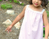 Girls Cotton Long Summer Nightgown with Lace Straps, Pink and White Polka Dots, Sizes 4T thru Girls 8, Rose and Ruffle Original