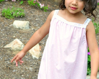 Girls Cotton Long Summer Nightgown with Lace Straps, Pink and White Polka Dots, Sizes 3/4 5/6 7/8, Rose and Ruffle Original