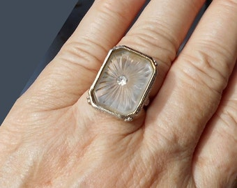 CAMPHOR GLASS Ring Vintage Ornate Big Rhodium Camphor Ring ADJUSTABLE From 1940s Raised Open Scroll Work with Rhinestone.  Only 199.90