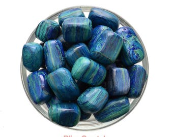 1 AZURITE Chrysocolla / Malachite Tumbled Stone + Bag Combination Stone for Collector Display, Healing Crystal & Stone #AZ01
