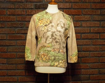 Vintage French Angora / Lambswool Blend Floral Sweater Women's M / L