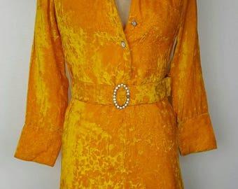 60s Mustard Short Stops Velvet GoGo Mini Dress - XS