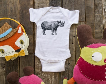 rhino 5 - graphic printed on Infant Baby One-piece, Infant Tee, Toddler T-Shirts - Many sizes