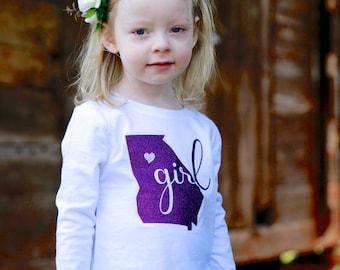 Georgia Girl State T-shirt - Georgia Tee - Georgia Girl Tee - Georgia State Pride Shirt - Georgia Tee for Baby - Georgia T-shirt for Toddler