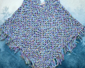 Vintage 90s Hand Made Knitted Fringe Poncho Sweater Made by Grandma