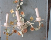 RESERVED Vintage Pastel French Tole Floral Sconce Chandelier Shabby Cottage Chic Painted Metal Chippy 1 of 2