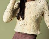 Mesh crop top wool sweater, See through wool felt pullover, Sexy cutout Cobweb pullover, Organic Marcela flower Hand dyed merino wool