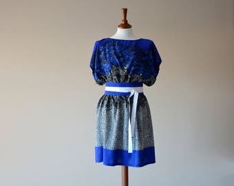 Boho dress, Bohemian tunic, Japanese tunic dress, Oversized dress, Loose fit dress, Blue tunic, Bridesmaid dress, Maxi dress, Boho clothing