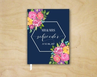 Bright Floral Wedding Guest Book, Pink and Navy Summer Wedding Guestbook, Geometric Floral Wedding Reception Book, Hardcover Landscape Book