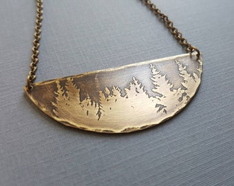 Forest Treeline Pendant - Brass Pine Trees Necklace