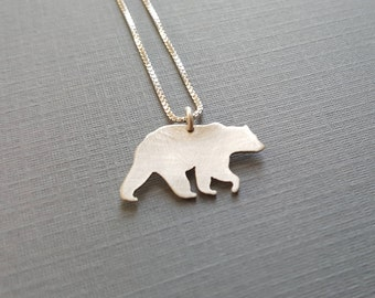 Silver Grizzly Bear Pendant - Sterling Silver Bear Necklace