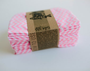 Baby Wipes - Set of 20 -  Double Layer  ( Pink Chevron )