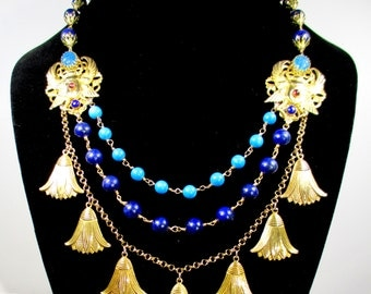 Egyptian Revival Necklace, Scarab and Lotus Necklace, Multi-Strand, Lapis Lazuli,Turquoise Howlite, Statement Necklace,Scarabs, Lotus